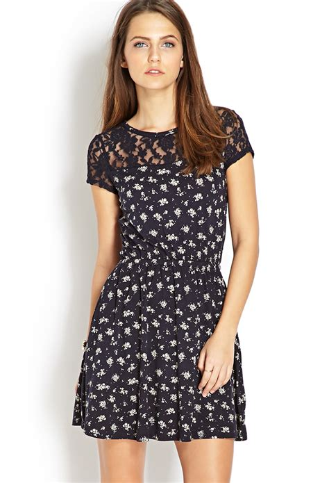 Forever21 Lace Dress forever 21 ditsy floral crochet lace dress in black pink lyst