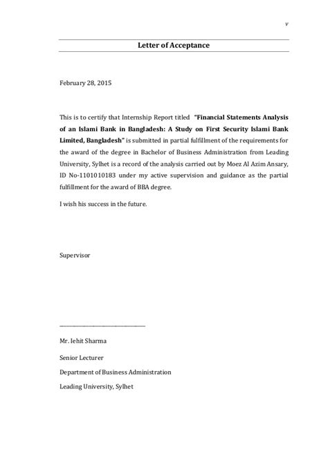 Internship Acceptance Letter From Bank Internship Report On Financial Statements Analysis Of Fsibl By Moez A