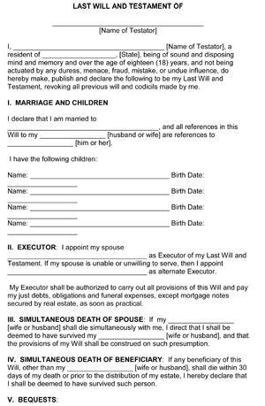 family will template last will and testament template form illinois template