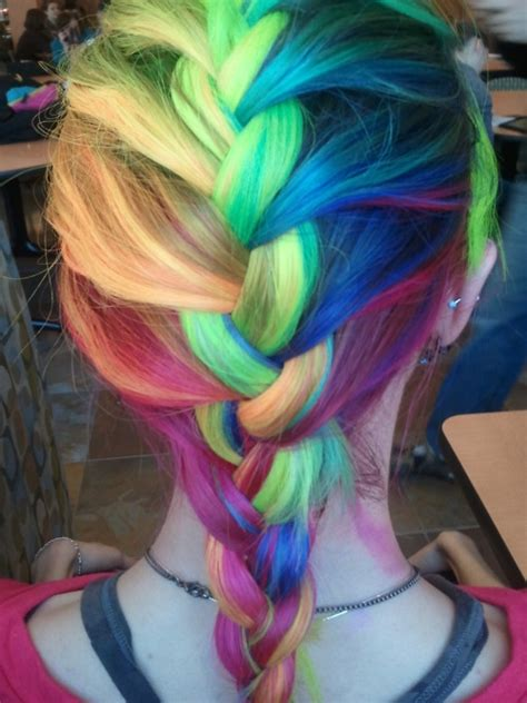 rainbow color hair ideas rainbow french braid hair colors ideas