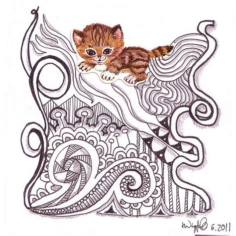 doodle dea 81 best zentangle cat images on cats coloring