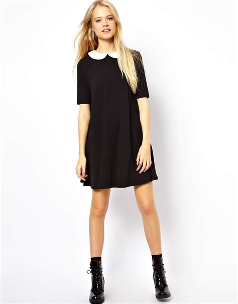 swing dress with collar asos swing dress with contrast collar in blue lyst