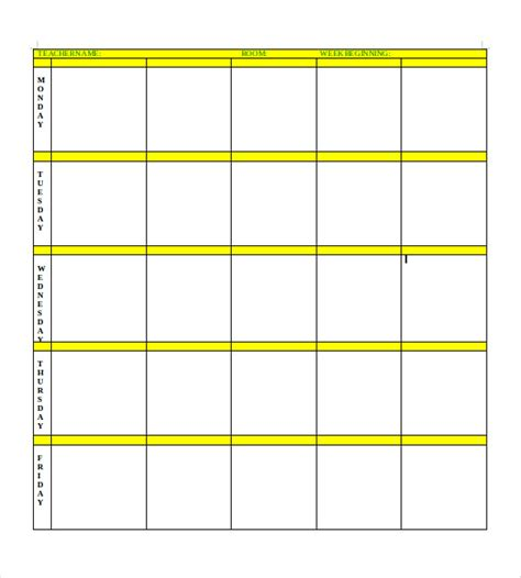 Free Printable Blank Lesson Plan Template by Free Blank Lesson Plan Templates Plan Template