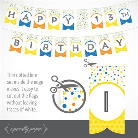printable yellow birthday banner printable birthday banner in yellow blue orange
