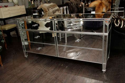 Mirrored Dressers For Sale by Mirrored 6 Drawer Dresser With Silver Leaf Trim For Sale