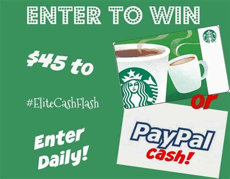 win 45 paypal or starbucks coffee gift card elitecashflash - Starbucks Gift Card Paypal