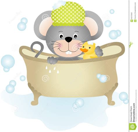 mouse in bathtub mouse taking a bath stock vector image 62272502