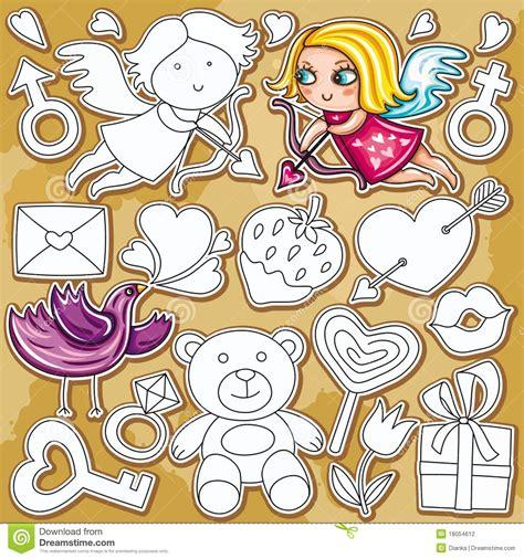 doodle jogos do jogo do doodle do dia do valentim fotografia de stock
