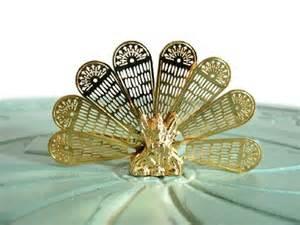 miniature fireplace screen brass fan peacock shape vintage