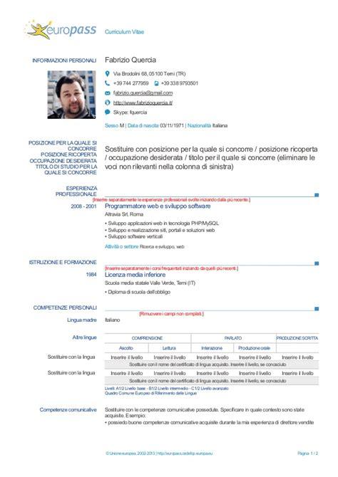 Formato Europeo Curriculum Vitae Compilato Modello Curriculum Vitae Europeo Compilato Curriculum Vitae 2018