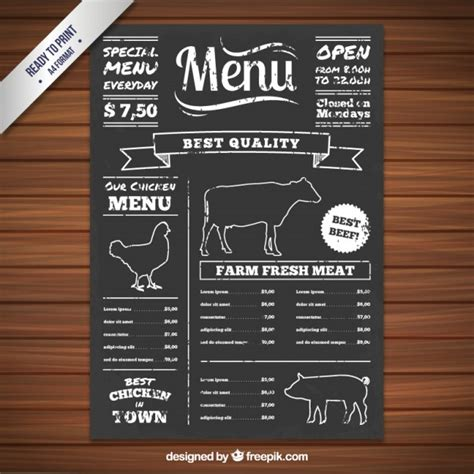 chalkboard menu template free menu on blackboard vector free