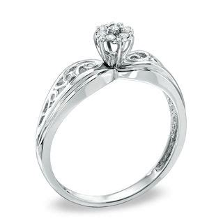 accent cluster promise ring in 10k white gold