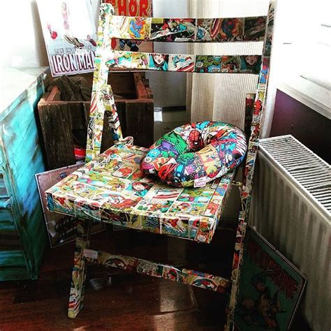 decoupage furniture with wrapping paper marvel superheroes decoupage upcycle chair using
