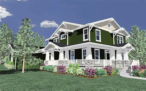 craftsman farmhouse with wraparound porch 85025ms 2nd