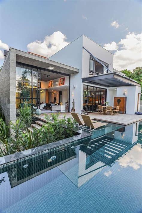 House Plans With Lots Of Glass by 60 Pinturas De Casas Por Fora E Por Dentro