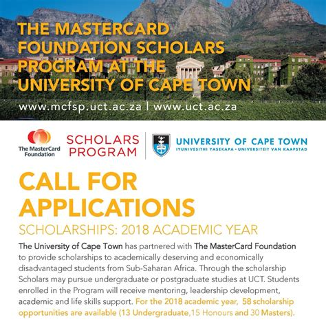Mba Scholarships 2018 South Africa by Of Cape Town Mastercard Foundation Scholars