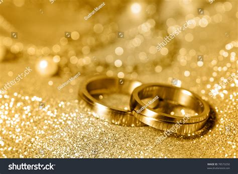 Wedding Background Gold by Wedding Rings Gold Pearls Stock Photo 78573250