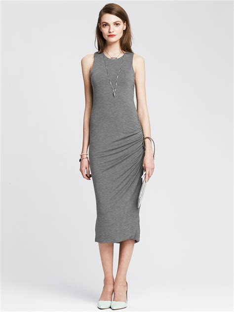 lyst banana republic ruched jersey dress in gray