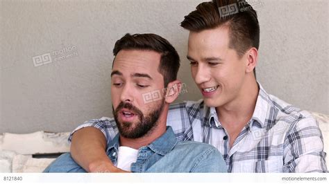 gay on the couch gay couple relaxing on the couch stock video footage 8121840