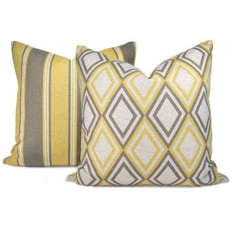 gray yellow pillows geometric decorative pillows in taupe grey and mustard
