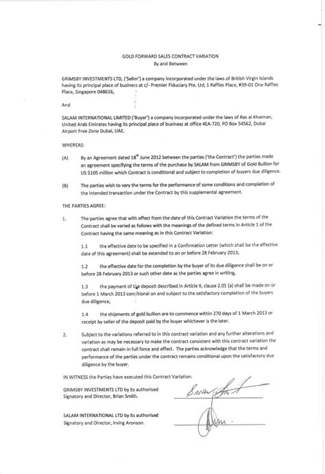 section 32 contract of sale arx gold corp form 10 q ex 10 2 gold forward sales