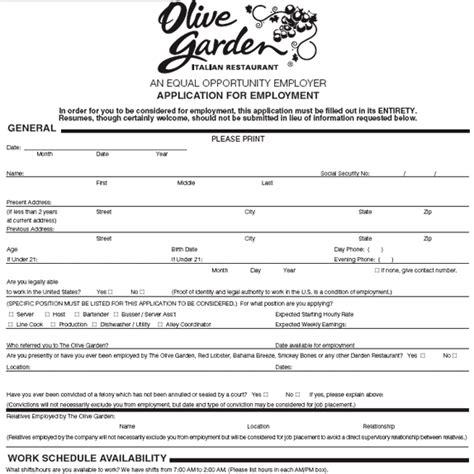 Olive Garden Application   Online Job Employment Form