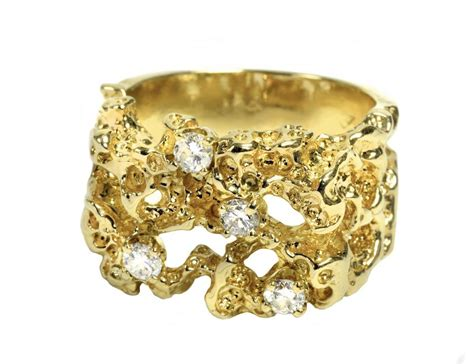 lot detail men s gold nugget style ring