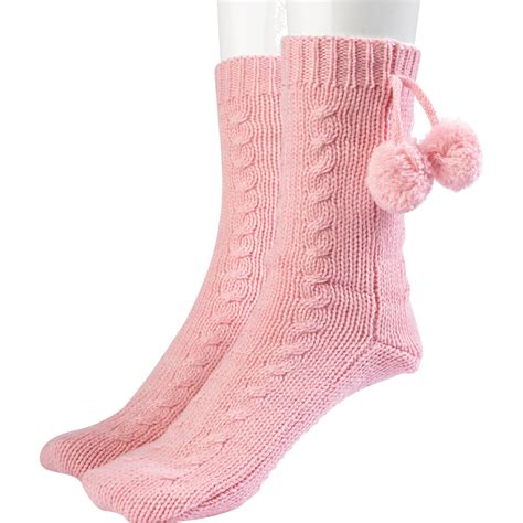 bed socks womens thick acrylic wool slenderella bed socks pom pom