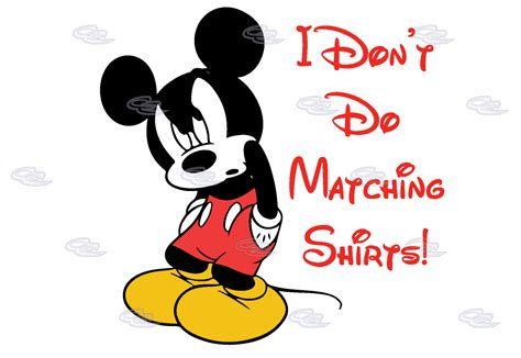 imagen fanny mikey i don t do matching shirts angry mickey mouse funny shirt
