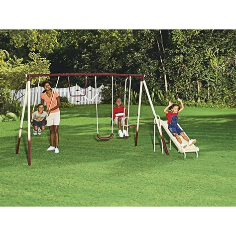 swing and slide set kmart cameron 4 leg 5 station swing set swinging and sliding