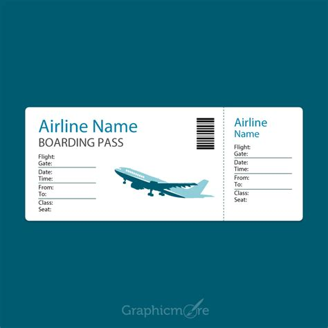 airline blue boarding pass template design  vector file
