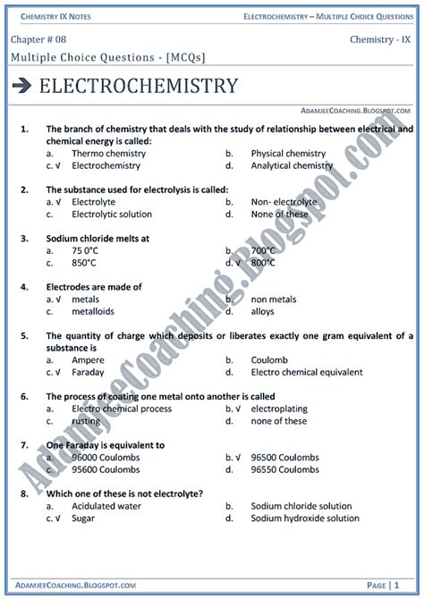electrochemistry tutorial questions free mcq questions for class 9 science sa2 science class