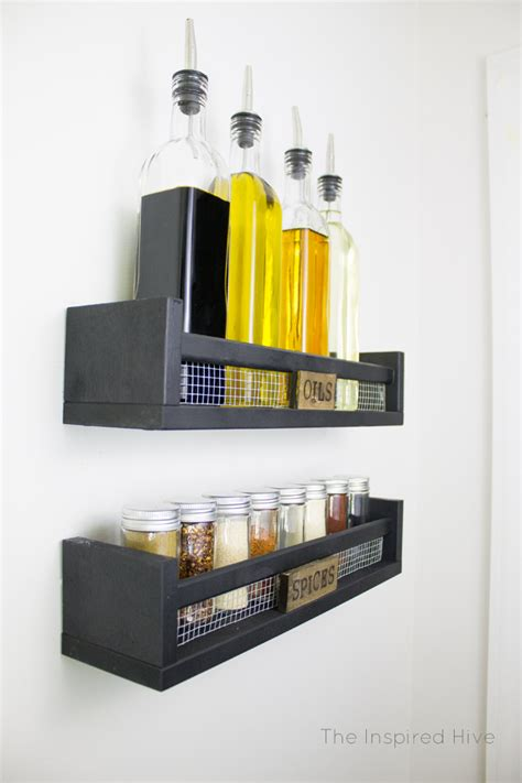 diy spice rack wall mounted diy rustic wall mounted spice rack the inspired hive