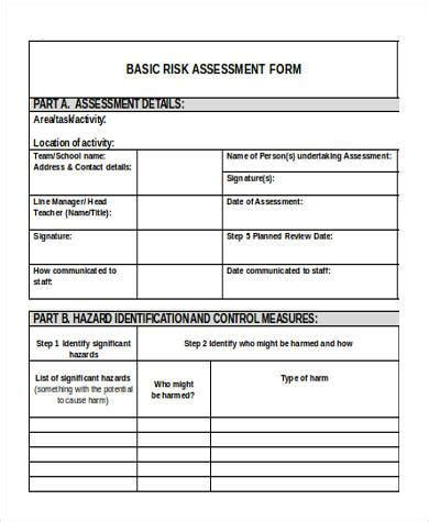 Basic Assessment Forms 8 Free Documents In Word Pdf Basic Risk Assessment Template