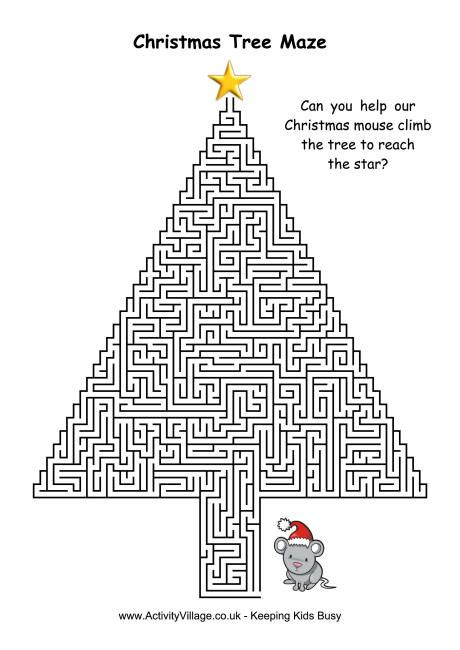 christmas tree activity book printable christmas tree maze 1