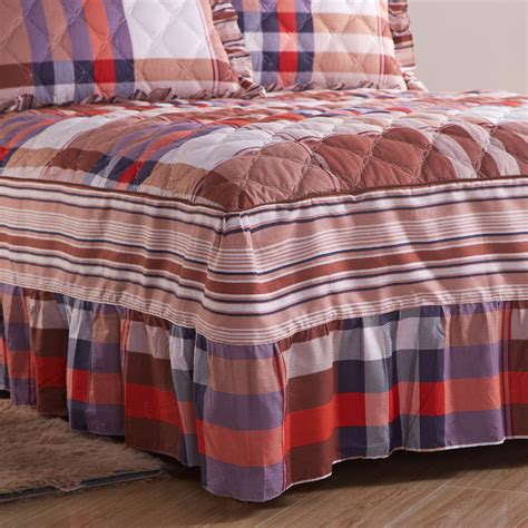 Thick Quilted Bedspreads Cotton Quilted Bed Skirt Bedspread Single Thick Cotton