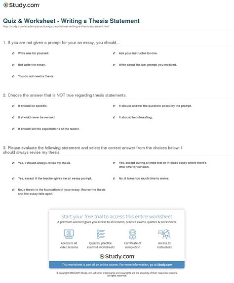 thesis writing quiz worksheet writing a thesis statement study