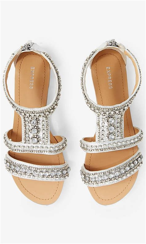express sandals rhinestone embellished metallic sandal silver 6 metallic