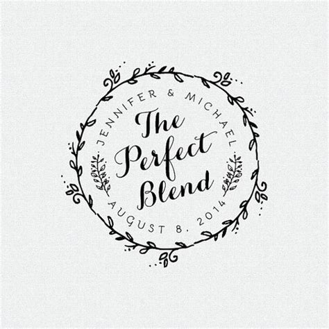 Personalized Wedding Stamp with Wreath, The Perfect Blend