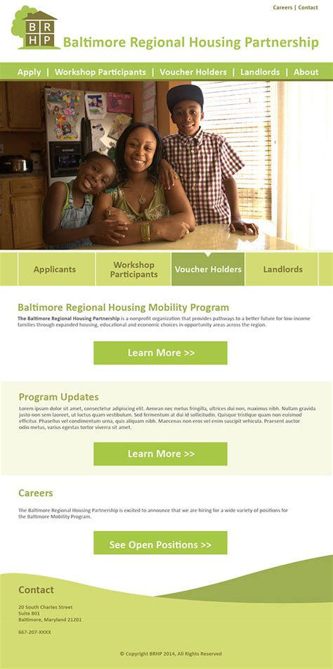 baltimore regional housing partnership baltimore regional housing partnership website on behance