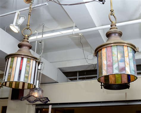 Hanging Stained Glass Light Fixtures Pair Of Arts And Crafts Stained Glass Hanging Light Fixtures At 1stdibs