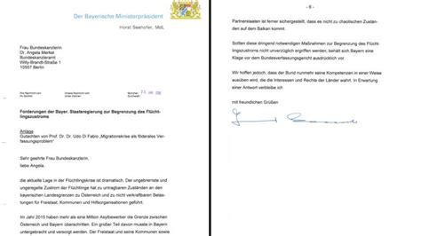 Ich Verbleibe Mit Freundlichen Grüßen Brief Seehofer Schreibt Merkel Quot Liebe Angela Geltendes Recht Wird Nicht Beachtet Quot Die Welt