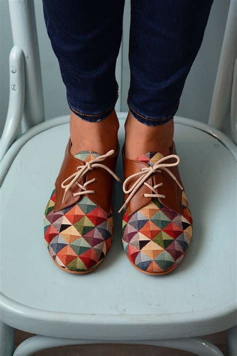colorful oxford shoes multicolored shoes leather shoes oxford flat shoes