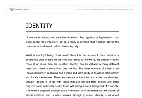 Australian Identity Essay by Identity Essay Gcse Sociology Marked By Teachers