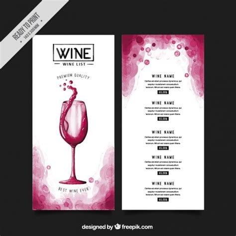 wine list templates wine list vectors photos and psd files free