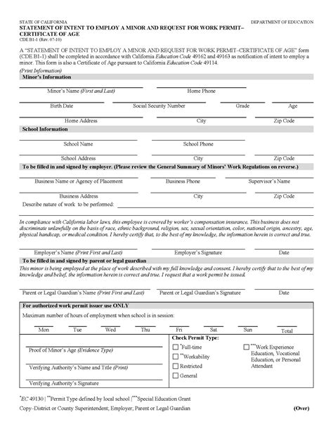 work permit template elac high school summer program free apps