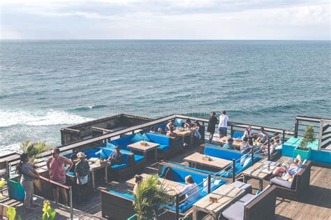 cliff top bar bali bali indonesia january 22 2018 tropical bar on the