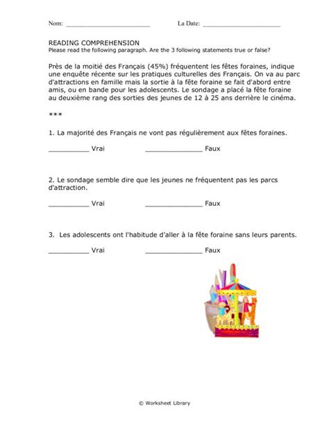 Reading Comprehension Test In French | printables french reading comprehension worksheets