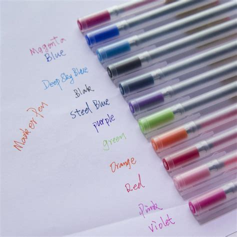 Set Of 12 Gel Pens muji style gel pens set of 12 notebooktherapy