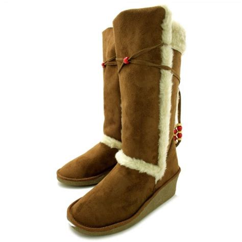 buy jadyn wedge heel fur winter boots chestnut suede style
